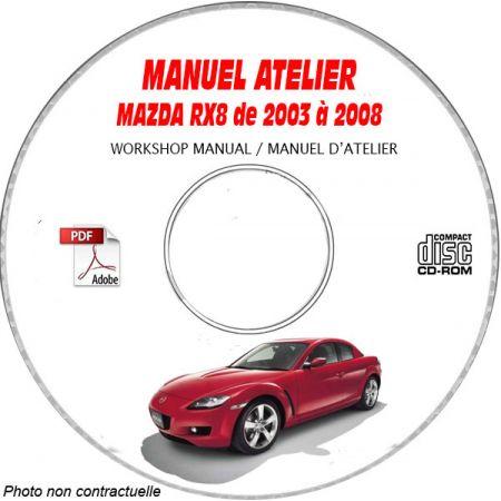 MAZDA RX8 de 2003 à 2008 Manuel d'Atelier sur CD-ROM Anglais