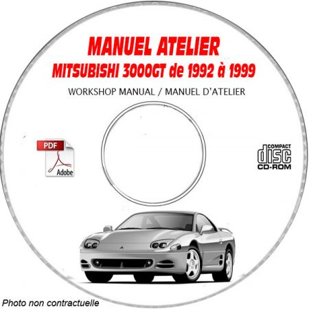 MITSUBISHI 3000 GT SL et VR4 de 1992 a 1999 Type : Z11AM + Z15AM + Z16AM Manuel d'Atelier sur CD-ROM Anglais