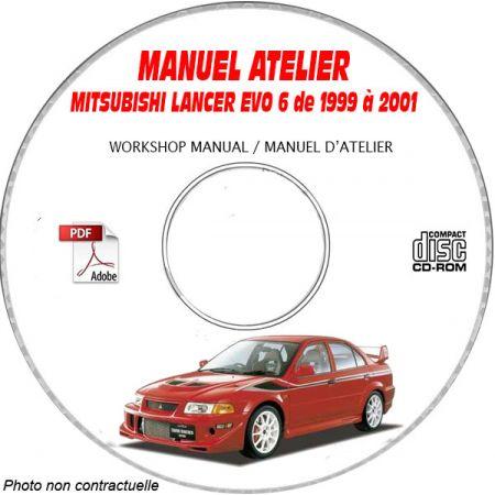 MITSUBISHI LANCER EVO6 RS et GSR de 1999 à 2001 Type : GF-CP9A Manuel d'Atelier sur CD-ROM