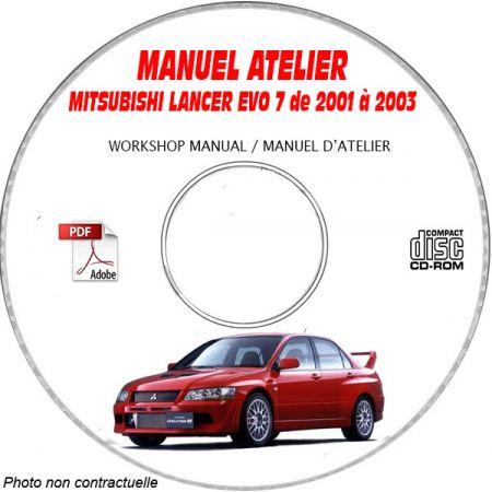 MITSUBISHI LANCER EVO7 RS et RS2 de 2001 à 2003 Type : CT9A Manuel d'Atelier sur CD-ROM Anglais