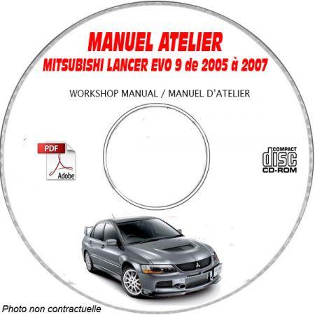 MITSUBISHI LANCER EVO9 de 2005 à 2007 Type : GH-CT9A Manuel d'Atelier sur CD-ROM anglais