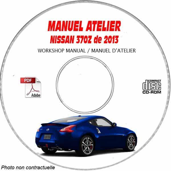 NISSAN 370Z de 2013 TYPE:  Z34 Manuel d'Atelier sur CD-ROM Anglais