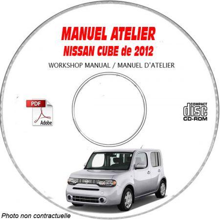 NISSAN CUBE de 2012 TYPE: Z12 Manuel d'Atelier sur CD-ROM Anglais