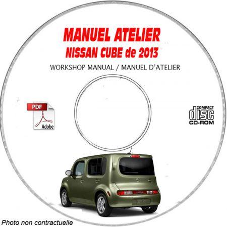NISSAN CUBE de 2013 TYPE: Z12 Manuel d'Atelier sur CD-ROM Anglais