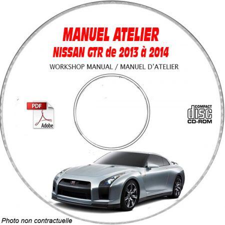 NISSAN GTR de 2013 à 2014 TYPE: R35 Manuel d'Atelier sur CD-ROM Anglais