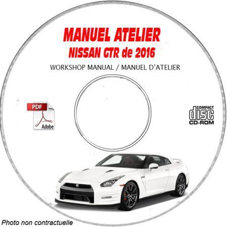 NISSAN GTR de 2016 TYPE  R35  Manuel d'Atelier sur CD-ROM anglais
