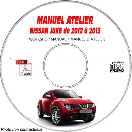 NISSAN JUKE de 2012 à 2013 TYPE: JN8 SERIE F15 Manuel d'Atelier sur CD-ROM anglais