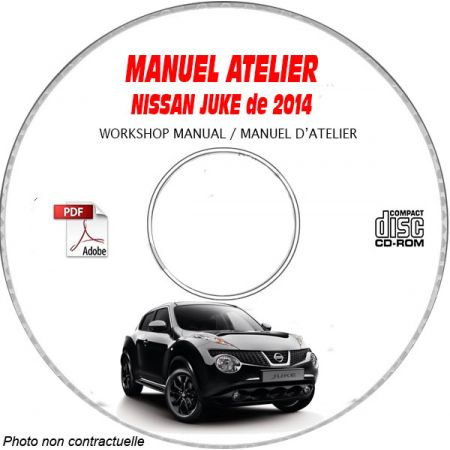 NISSAN JUKE de 2014 TYPE: JN8 SERIE F15 Manuel d'Atelier sur CD-ROM Anglais