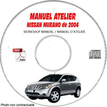 NISSAN MURANO de 2004 TYPE: Z50 S + SL + GXE Manuel d'Atelier sur CD-ROM anglais