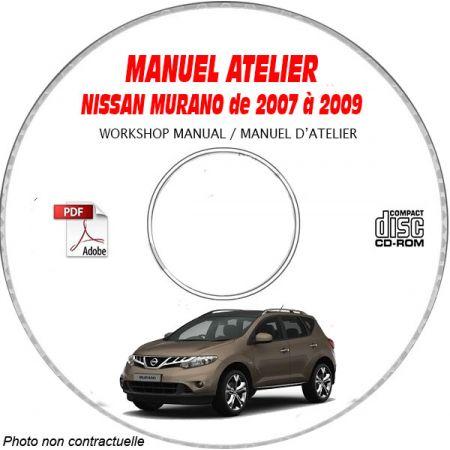 NISSAN MURANO de 2007 a 2009 TYPE: Z51 S + SL + LE Manuel d'Atelier sur CD-ROM Anglais