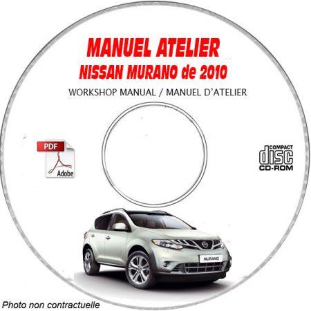 NISSAN MURANO de 2010 TYPE Z51 S + SL + LE Manuel d'Atelier sur CD-ROM Anglais