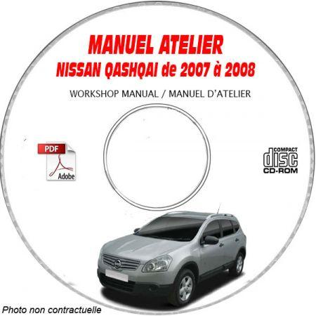 NISSAN QASHQAÏ de 2007 et 2008 TYPE: J10  Manuel d'Atelier sur CD-ROM anglais