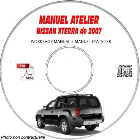 NISSAN XTERRA de 2007 TYPE: N50 Manuel d'Atelier sur CD-ROM Anglais