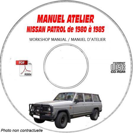 NISSAN PATROL de 1980 à 1985 TYPE 160-61 TOUTES FINITIONS MANUEL D'ATELIER SUR CDROM Anglais