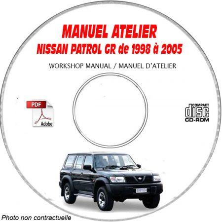 NISSAN PATROL GR de 1998 a 2005 Type Y61 Manuel d'Atelier sur CD-ROM Anglais
