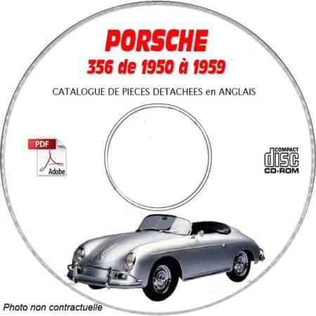 PORSCHE 356 de 1950 à 1959 GS + GT + CARRERA Catalogue des Pièces Détachées sur CD-ROM anglais