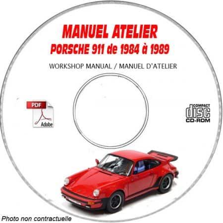 PORSCHE 911 + CARRERA de 1984 à 1989 Manuel d'Atelier sur CD-ROM Anglais