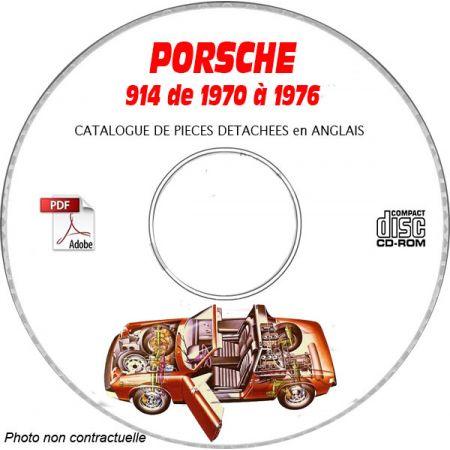 PORSCHE 914 TARGA de 1970 à 1976 Catalogue des Pièces Détachées sur CD-ROM Anglais