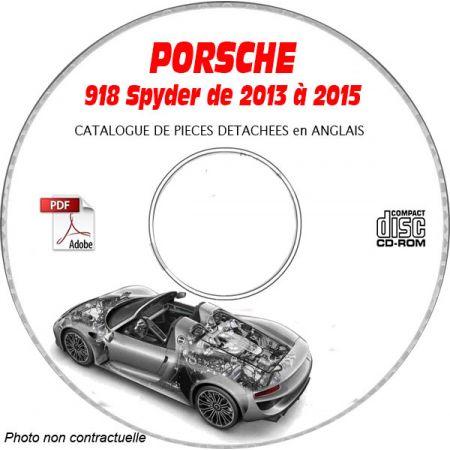 PORSCHE 918 SPYDER E-HYBRID de 2013 à 2015 Catalogue des Pièces Détachées sur CD-ROM Anglais