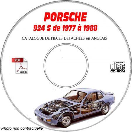 PORSCHE 924S de 1977 à 1988 Catalogue des Pièces Détachées sur CD-ROM Anglais
