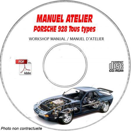 PORSCHE 928 Tous types 928 S GT GTS S4 Manuel d'Atelier sur CD-ROM Anglais