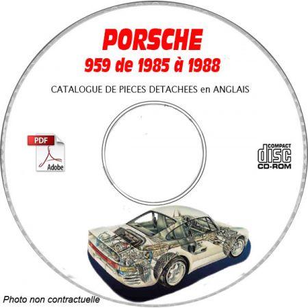 PORSCHE 959 de 1985 et 1988 Catalogue des Pièces Détachées sur CD-ROM Anglais