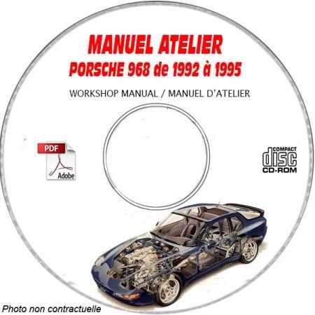 PORSCHE 968 et CS de 1992 à 1995 Manuel d'Atelier sur CD-ROM Anglais