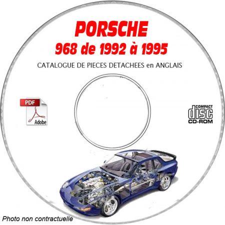 PORSCHE 968-968S de 1992 a 1995 Catalogue des Pièces Détachées sur CD-ROM Anglais