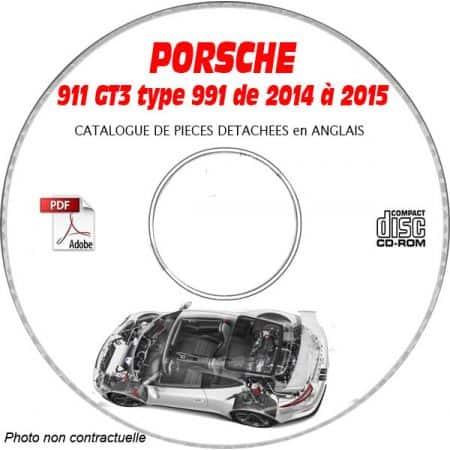PORSCHE 991 GT3 de 2014 à 2015 Phase 1 Catalogue des Pièces Détachées sur CD-ROM anglais