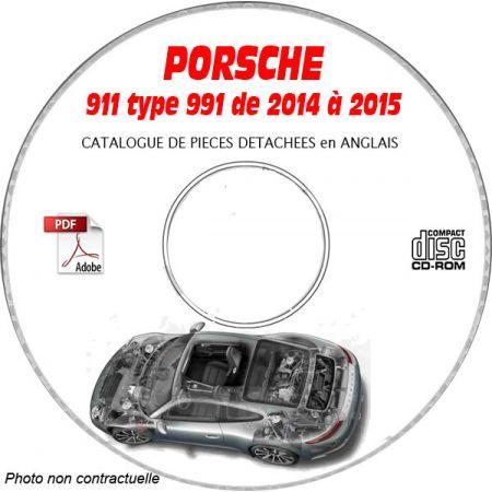 PORSCHE 911 type 991 de 2014 à 2015 Carrera 2 + Carrera 4 Catalogue des Pièces Détachées sur CD-ROM anglais
