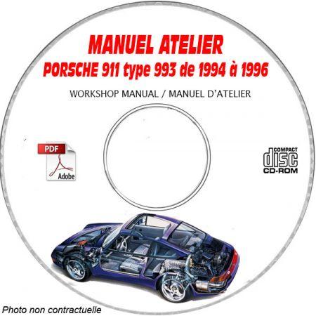 PORSCHE 911 Type 993 de1994 à 1996 Type : 993 CARRERA 2 et 4 Manuel d'Atelier sur CD-ROM Anglais