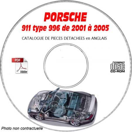 PORSCHE 911 TURBO type 996 de 2001 a 2005 Turbo et GT2 Catalogue des Pièces Détachées sur CD-ROM Anglais