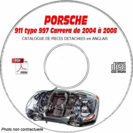 PORSCHE 91 type 997 de 2004 à 2008 Carrera Catalogue des Pièces Détachées sur CD-ROM anglais