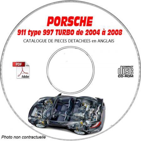 PORSCHE 911 type 997 de 2004 à 2008 Turbo Catalogue des Pièces Détachées sur CD-ROM anglais