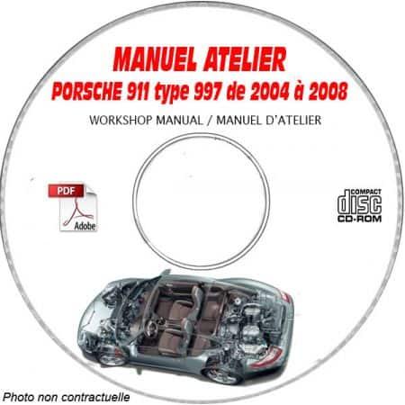 PORSCHE 911 Type 997 de 2004 à 2008 Manuel d'Atelier sur CD-ROM anglais