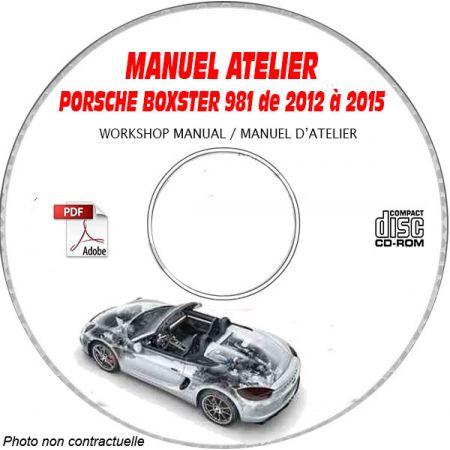 PORSCHE BOXSTER et BOXSTER S de 2012 à 2015 type 981 Manuel Atelier sur CD-ROM Anglais