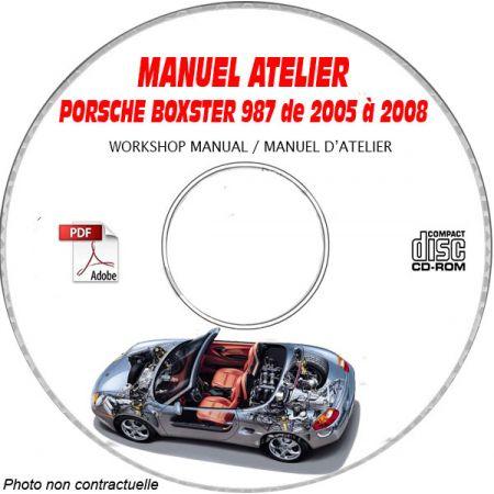 PORSCHE BOXSTER et S 987 de 2005 à 2008 Type : 987 Manuel Atelier sur CD-ROM Anglais