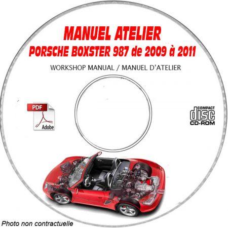 PORSCHE BOXSTER et S de 2009 à 2011 Type : 987 Phase 2 Manuel Atelier sur CD-ROM anglais