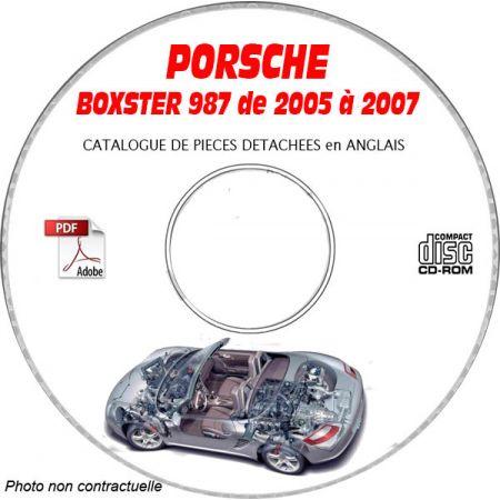 PORSCHE BOXSTER et S de 2005 à 2007 Type 987 Catalogue des Pièces Détachées sur CD-ROM Anglais