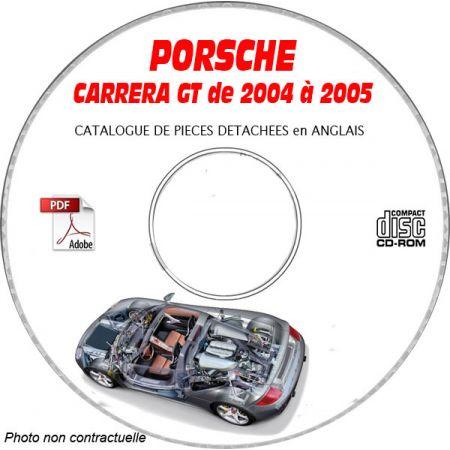 PORSCHE CARRERA GT de 2004 et 2005 Type 980 Catalogue des Pièces Détachées sur CD-ROM anglais