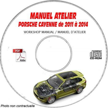 PORSCHE CAYENNE de 2011 à 2014 S + GTS + TURBO + TURBO S + E-HYBRID Type : 92A ou 958 Manuel Atelier sur CD-ROM Anglais