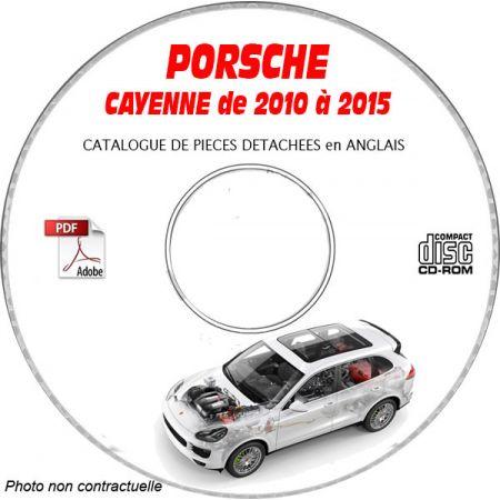 PORSCHE CAYENNE de 2010 à 2015 S + TURBO + HYBRID TYPE 92A (958) Catalogue des Pièces Détachées sur CD-ROM anglais