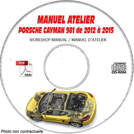 PORSCHE Cayman de 2012 à 2015 CAYMAN + S + GTS + GT4 Type : 981 BLACK/STYLE EDITION Manuel Atelier sur CD-ROM Anglais