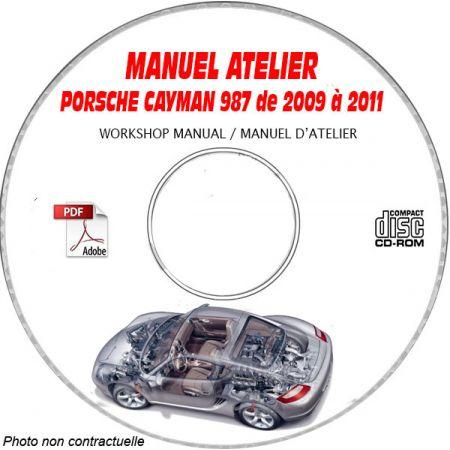 PORSCHE CAYMAN - CAYMAN S de 2009 à 2011 Type : 987 Phase 2 Manuel Atelier sur CD-ROM Anglais