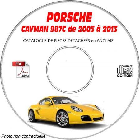 PORSCHE CAYMAN de 2005 à 2013 Type 987C Catalogue des Pièces Détachées sur CD-ROM anglais