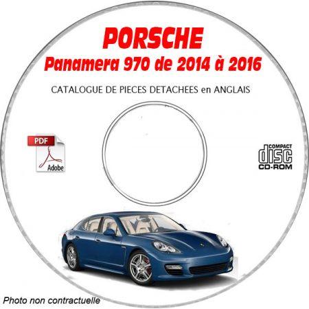 PORSCHE PANAMERA de 2014 à 2016 Type 970 Catalogue des Pièces Détachées sur CD-ROM Anglais