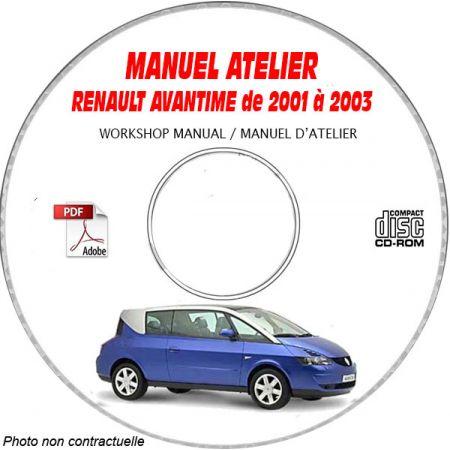 RENAULT AVANTIME de 2001 à 2003 Type : DE0 T Manuel Atelier sur CD-ROM FR