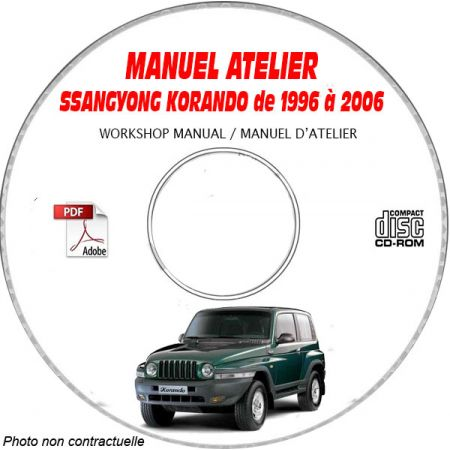 SSANGYONG KORANDO de 1996 à 2006 Phase 2 Manuel d'Atelier sur CD-ROM Anglais