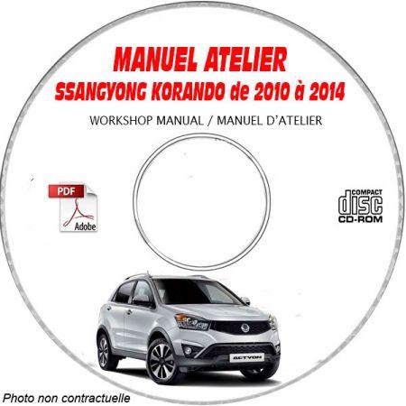 SSANGYONG KORANDO de 2010 à 2014 Phase 3 Type : KPTA0B1..... Manuel d'Atelier sur CD-ROM