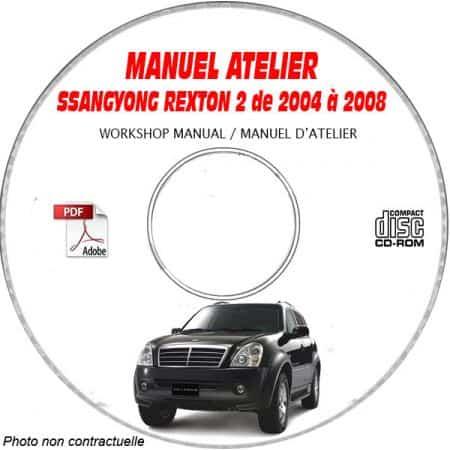 SSANGYONG REXTON de 2004 a 2008 Phase 2 - TYPE Y250 + Y280 + Y230 Manuel d'Atelier sur CD-ROM anglais
